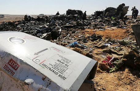 Место крушения авиалайнера Airbus A321 на Синайском полуострове.