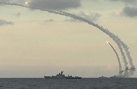 Пуск российскийх ракет в Сирии.