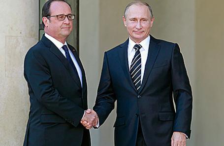 Президент Франции Франсуа Олланд и президент России Владимир Путин.