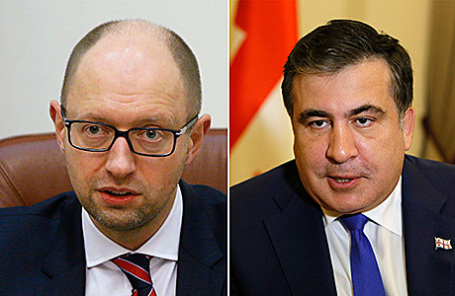 Премьер-министр Украины Арсений Яценюк и губернатор Одесской области Михаил Саакашвили (слева направо).