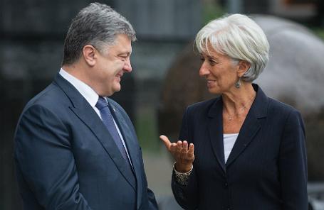 Встреча президента Украины П.Порошенко и главы МВФ К.Лагард в Киеве.