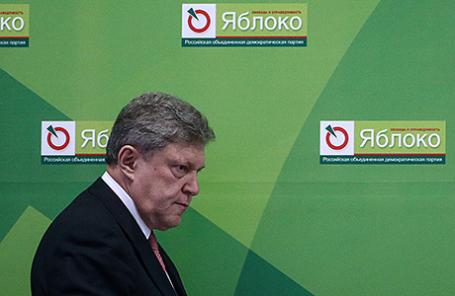 Глава фракции «Яблоко» в Законодательном собрании Санкт-Петербурга Григорий Явлинский на отчетно-перевыборном съезде партии в Москве, 19 декабря 2015.