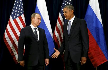 Барак Обама и Владимир Путин на Генеральной Ассамблее ООН в Нью-Йорке 28 сентября 2015 года.