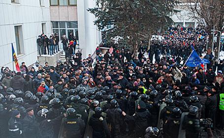 Акция протеста в Кишиневе, Молдавия, 20 января 2016.