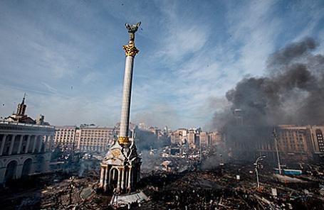 Во время массовых беспорядков на площади Независимости в Киеве, февраль 2014.
