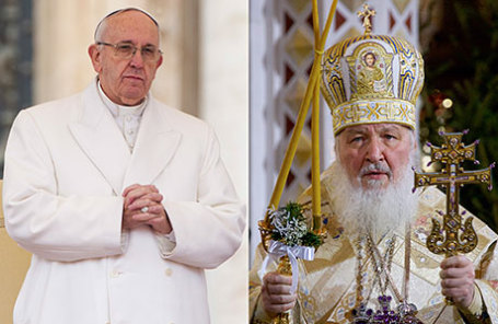 Папа Римский Франциск (слева) и патриарх Московский и всея Руси Кирилл.