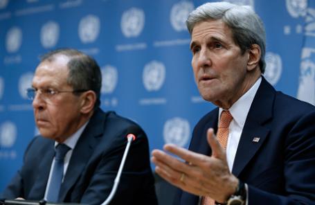 Министр иностранных дел РФ Сергей Лавров и госсекретарь США Джон Керри.