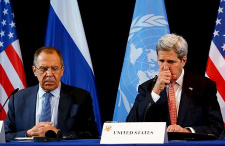 Сергей Лавров и Джон Керри на пресс-конференции по итогам встречи в Мюнхене.