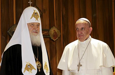 Патриарх Московской и всея Руси Кирилл и Папа Римский Франциск во время встречи в Гаване, Куба, 12 февраля 2016.