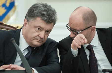 Президент Украины Петр Порошенко и премьер-министр Украины Арсений Яценюк (слева направо)