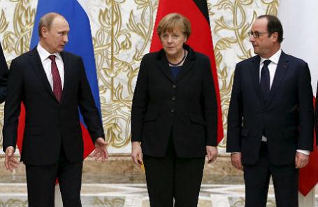 Владимир Путин, Ангела Меркель и Франсуа Олланд.