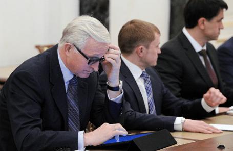 Президент Российского союза промышленников и предпринимателей (РСПП) Александр Шохин на заседании рабочей группы по мониторингу и анализу правоприменительной практики в сфере предпринимательства.