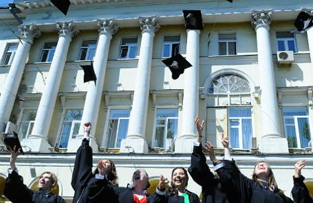 Во время церемонии выпуска бакалавров в Московском государственном лингвистическом университете.