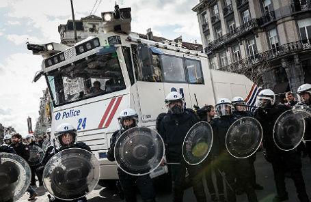 На демонстрации в Брюсселе.
