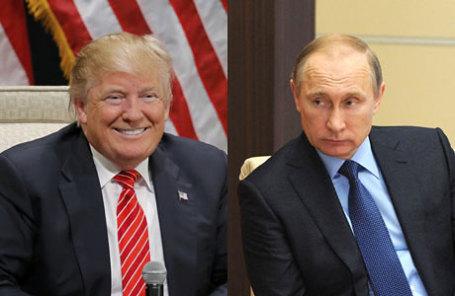 Дональд Трамп и президент России Владимир Путин (слева направо).