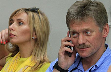 Фигуристка Татьяна Навка и пресс-секретарь президента РФ Дмитрий Песков.