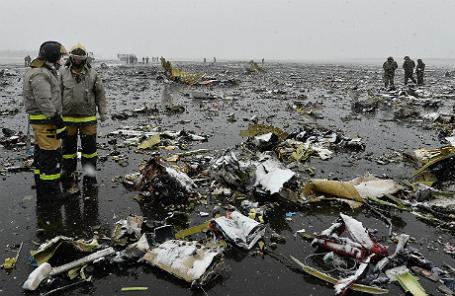 На месте крушение Boieng в Ростове.