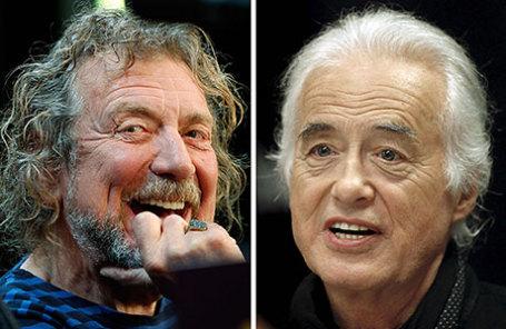 Солист Led Zeppelin Роберт Плант (слева) и гитарист Джимми Пейдж.