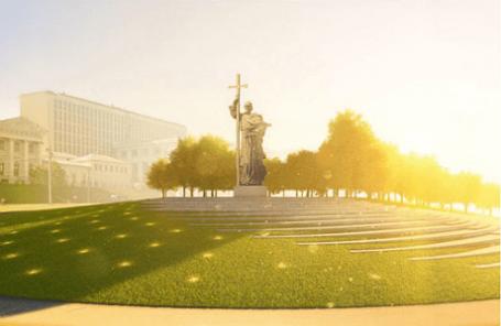 Финальный проект благоустройства Боровицкой площади и размещения памятника князю Владимиру представлен в Москве