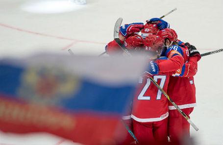 Сборная России на матче против сборной Дании 12 мая 2016 года.
