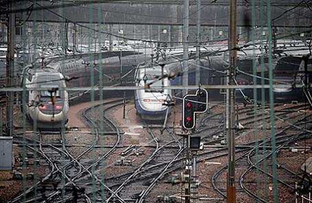 Забастовка железнодорожников во Франции.