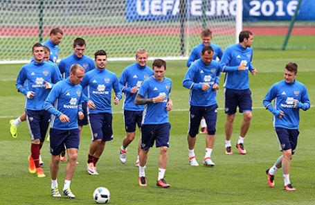 Игроки сборной России на тренировке.