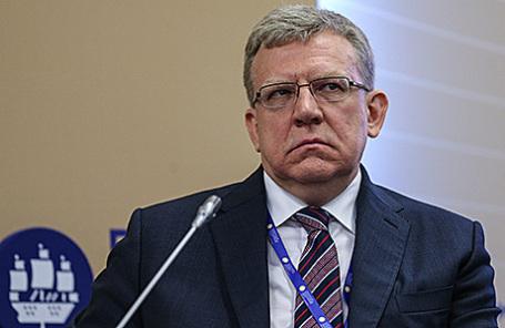 Алексей Кудрин во время панельной сессии «Макроэкономическая политика: стратегия действий» в рамках XX Петербургского международного экономического форума.