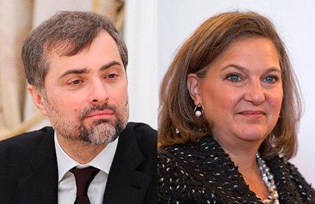 Руководитель аппарата правительства РФ Владислав Сурков (слева) и заместитель госсекретаря США Виктория Нуланд.