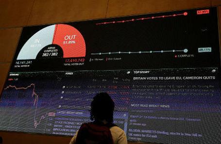 Экран с результатами референдума и данными рынков в лондонском офисе Thomson Reuters.