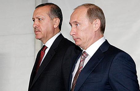 Президент Турции Реджеп Эрдоган и президент России Владимир Путин (слева направо).