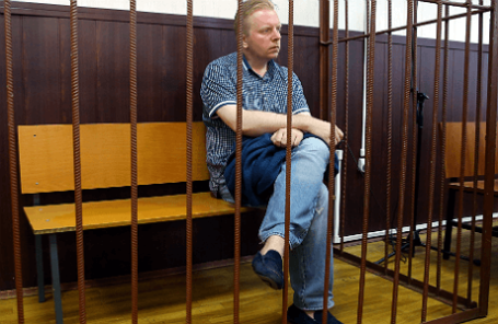 Генеральный директор Российского авторского общества Сергей Федотов, подозреваемый в мошенничестве в особо крупном размере, в Таганском районном суде.