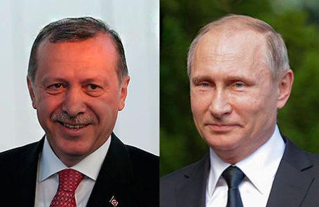 Президент Турции Реджеп Тайип Эрдоган (слева) и президент РФ Владимир Путин.