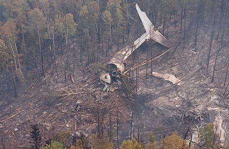 Место крушения самолета Ил-76 в Иркутской области.