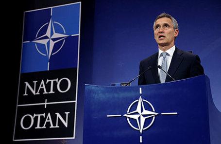 Генеральный секретарь НАТО Йенс Столтенберг на пресс-конференции по итогам Совета Россия-НАТО в штаб-квартире альянса в Брюсселе.