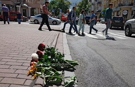 На месте гибели журналиста Павла Шеремета.