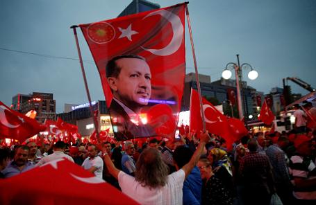 Демонстрация в поддержку Реджепа Эрдогана.