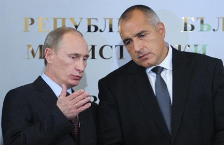 Президент России Владимир Путин и председатель Совета министров Болгарии Бойко Борисов (слева направо).