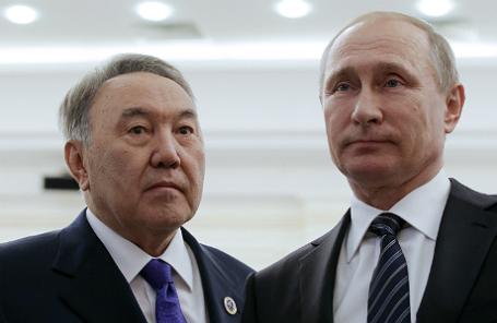 Президент Казахстана Нурсултан Назарбаев и президент России Владимир Путин (слева направо).