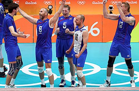 Игроки сборной России по волейболу на Олимпиаде в Рио-де-Жанейро.