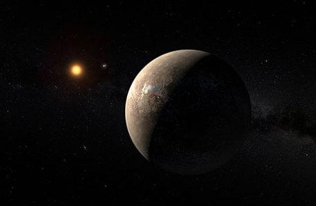 Планета Проксима Б на орбите красного карлика Проксима Центавра, ближайшей звезды к нашей Солнечной системе.