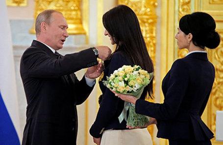 Президент России Владимир Путин во время выступления в Кремле на встрече с членами олимпийской сборной России - победителями и призерами Олимпиады-2016 в Рио-де-Жанейро.