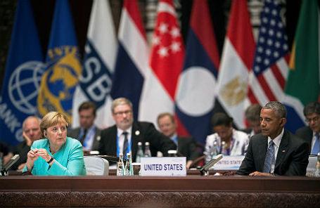 Ангела Меркель и Барак Обама на саммите G20 в Китае.