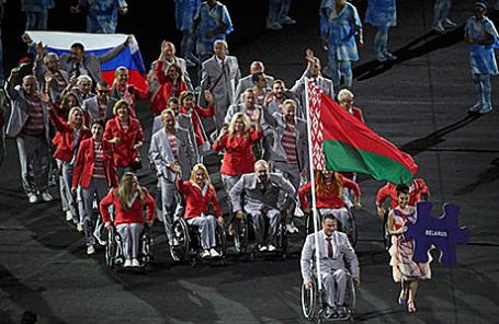 Сборная Белоруссии на церемонии открытия XV Паралимпийских летних игр в Рио-де-Жанейро.