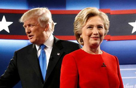Дональд Трамп и Хиллари Клинтон на дебатах.