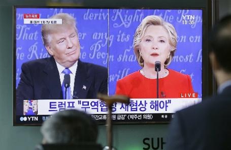 Первые теледебаты кандидатов в президенты США Хиллари Клинтон и Дональда Трампа в университете Хофстра в Хемпстеде.