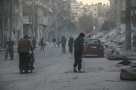 Последствия боевых действий в Алеппо.