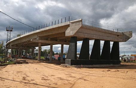 Строительство пятого пускового комплекса ЦКАД в Московской области.