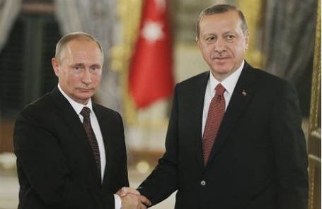 Президент России Владимир Путин с турецким коллегой Реджепом Эрдоганом.
