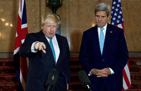 Министр иностранных дел Великобритании Борис Джонсон и госсекретарь США Джон Керри.