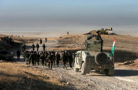 Силы отрядов пешмерга на пути к Мосулу.